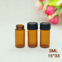 Wholesale 3m glasses for sale - Group buy Best Selling m Small Glass Vials Bottles Amber Glass Essential Oil Perfume Bottle With Orifice Reducer Black Screw Cap