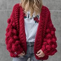 ingrosso cappotti invernali america-Autunno Inverno Europa America Maglione Manuale Tessuto Lanterna Manicotto Cappotto Maglione 3D Decorazione Cardigan maglione maglia