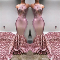 Wholesale Images Crystal Roses - 2018 Halter Satin Mermaid Long Prom Dresses 3d Rose Skirt Lace Applique Beaded Formal Party Evening Gowns BA7797