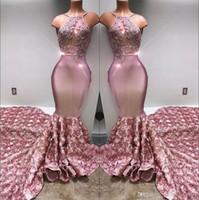 ingrosso gonne le immagini-2020 della sirena del Halter Prom Dresses lunghi raso 3D Rosa Gonna pizzo applique in rilievo formale BA7797 sera del partito di abiti reale Immagine