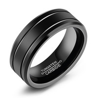 ingrosso disegni anelli freschi per gli uomini-Tungsteno fredda uomini anelli livello lucidato Vintage Design larghezza di 8mm Dimensioni da 8 a 12 Regalo Banda di accessori per gli uomini e ragazzo WJ245