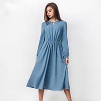 mulheres vestido de natal azul venda por atacado-2017 azul mulheres costura vintage dress outono e inverno vestido de natal de manga longa mid-calf a linha de vestidos de festa