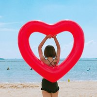 Wholesale funny heart cartoons - Originality Water Inflatable Toy Floats Summer Heart Shaped Pure Color Thickening Swimming Circle Funny Game Beach Floating 16 6xr W