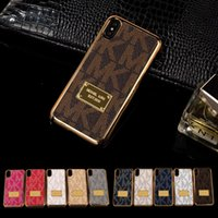 Wholesale Plastic Paint Green - Vogue Painting Phone Case Leather Back Shell Mobile Phone Cover electroplated Luxury Design for IPhone X 8 8P 7 7P 6 6s Plus Protection