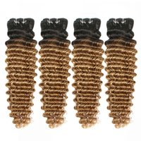 Wholesale brazilian curly hair style short online - Colored Brazilian Hair Bundles g Deep Curly T1B Blonde Ombre Hair weave Bundles Short Bob Style Human Hair Weaves