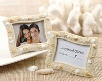 Wholesale photo gifts wedding free shipping for sale - Beach Theme Seaside Sand and Shell Resin Wedding Place Card Holder Mini Photo Frames Gift