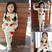 Wholesale sports clothes for girls for sale - Group buy 2018 Spring autumn M badges girls clothing set floral kids suit set casual two piece sport suit for girl tracksuit children clothing