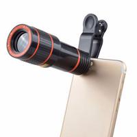 универсальный зум-объектив оптовых-Клип на 12x оптический зум мобильный телефон телескоп объектив HD телескоп объектив камеры для универсального мобильного телефона высокого качества