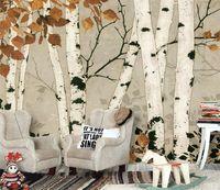 kinder aufkleber freies verschiffen großhandel-Kostenloser Versand Weiße Birke Tapete 3D Tapeten Kinder Aufkleber Stereo Wohnzimmer Schlafzimmer TV Hintergrundbild Wandbild