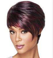 ingrosso parrucche realistiche dei capelli-Parrucche corti capelli finti per le donne Pixie Cut Short Economici vino rosso misto misto afroamericano realistico parrucca