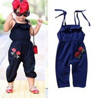 Wholesale navy blue baby bow - 2018 Summer Baby Rompers Embroidered Flower Jumpsuits Romper Bow Suspender Jumpsuit Cotton Princess Romper Suspender Pants Navy Blue A9099