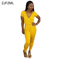 2339298b7091 New Red Yellow Black Sexy Rompers Womens Jumpsuit Deep V Neck Short Sleeve  One Piece Overalls Summer Casual Full Length Catsuit