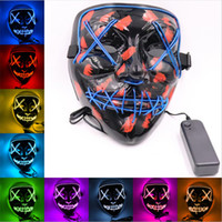 tam cosplay kostümleri toptan satış-Komik Cadılar Bayramı Cosplay Ses kontrolü Maske Tam Yüz Kaplı LED Kostüm Maske El Tel Light Up Festival Parti Glow Karanlıkta Maske