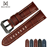 Wholesale brown leather strap 24mm - MAIKES Good quality watchband 22mm 24mm 26mm genuine leather watch strap band brown watch accessories bracelet belt
