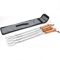 Wholesale camping knife fork spoon - 4Pcs Barbeque Skewers Elastic Camp Fork BBQ Kebab Roasting Picnic Utensil Stainless Steel Wooden Handle LJJN9
