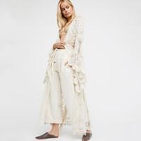 robes maxi en dentelle d'automne achat en gros de-Boho Femmes Solid Lace Long Dress Sexy Transparent Cardigan Beach Party Maxi Robes Élégantes Mujer Automne Printemps Beige Robes