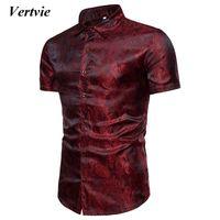 ingrosso seta più-VERTVIE Uomo Bright Silk Camicie Camicie Manica corta Slim Fit Camisas sociale Chemise Homme Top Casual Plus Size 3XL