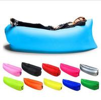 inflables de calidad al por mayor-al aire libre bolsa de playa perezosa bolsa de dormir inflable senderismo camping colchón de aire bolsas de dormir de plátano de alta calidad