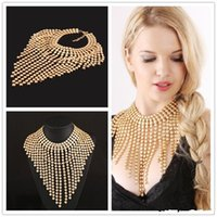 Wholesale necklaces for prom dresses - Fashion Alloy Chains Tassels Gold Necklaces Bridal Jewelry For Weddings Prom Dresses Special Events Bridal Accessories For Brides