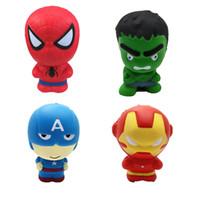 los hombres de hierro se levantaron al por mayor-Juguetes blandos Levantamiento lento Los vengadores Iron Man Capitán América Spiderman Hulk Squeeze Toy Squishies Stress Relief Juguetes Para niños juguetes