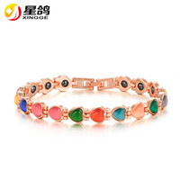 Wholesale Gold Bracelets For Health - Europe Health Magnet Bracelet Gold Color Colorful Opal Bracelets & Bangles For Women Copper Jewelry Wholesale Pulseira