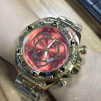 Wholesale luxury chronograph watches for men resale online - Hot Sell big size good quality invicta men watch stainless steel strap Mens Watches Quartz Wristwatches relogies for men relojes Best Gif