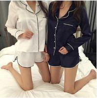 Wholesale woman elegant pajamas - Elegant Lace collar brief V neck Long sleeve Tops shorts Women Sleep Set pajama pajamas