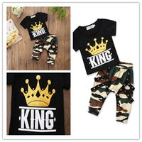 Wholesale Toddler Boy Crown - 2018 Boys Baby Childrens Clothings Set Crown Toddler tshirts Camouflage Harem Pants Set Summer Cotton Tshirts Boutique Infant Clothes Outfit