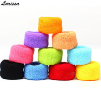 Wholesale thick red rope - Larissa 12Pcs towel hair rope for women Candy color elastic hair bands rubber band holders ties thick wide girl accessories