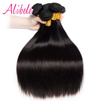 покупка пучков наращивание волос оптовых-AliBele Malaysian Straight Hair 10-28 inch 100% Human Hair Bundles 100G Non Remy Weave Extensions Can Buy 3 OR 4 BUNDLES