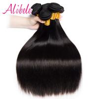saç örgüsü demetleri satın alma toptan satış-AliBele Malezya Düz Saç 10-28 inç 100% Insan Saç Demetleri 100G Olmayan Remy Örgü Uzantıları 3 VEYA 4 BUNDLES Alabilir