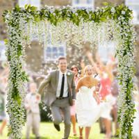 gefälschter blumengarten großhandel-6.6ft Künstliche Blumen Silk Wisteria Ivy Vine Hängende Girlande Hochzeit Liefert Weihnachten Hausgarten Dekoration Gefälschte Blumen