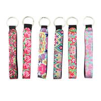 porta-chaves cool venda por atacado-Chaveiros Cool Neoprene Wristlet Chaveiro Lily Impresso Cordão Chaveiro Titular para Combinar Chapstick Titular Chaveiro Cor Aleatória Enviar H730Q F