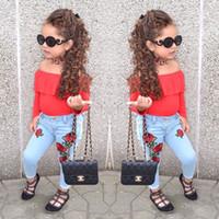 джинсовая джинсовая рубашка напечатана оптовых-Девушки джинсовый набор 2018 Мода новорожденных девочек с длинным рукавом футболка топ + роза цветок печатных джинсы брюки 2 шт. костюмы дети одежда