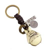 antike bronze keychain großhandel-Neue Ankunft Cartoon Film Mein Nachbar Totoro Keychain Antike Bronze Metall Leder Puppe Schlüsselanhänger Ring Souvenir Taschen schmuck