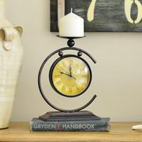 agulha de relógio de quartzo venda por atacado-Venda Promoção Metal Flip Clock Despertador Estilo Europeu Decoração Do Quarto Relógio Dual Belt Holder Quartz Cronômetro Agulha