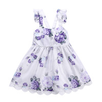 Wholesale dress suspenders ruffle - Girls Dress Purple Flower Printed Braces Skirt with Lace Pizzo Princess Dresses Summer Floral Dress 2-6T