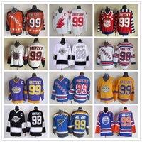 Wholesale army rangers - Hot sale! New York Rangers 99 Wayne Gretzky Jerseys Hockey St. Louis Blues LA Los Angeles Kings Vintage Blue White Black Yellow Orange