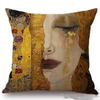 taie d'oreiller animaux achat en gros de-Peinture Or Luxe Housse de Coussin Décoratif Gustav Klimt Animal Cheval Coussin Couvre Coussin Canapé Décoratif Lin Coton Oreiller