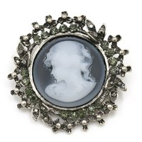Wholesale wholesale cameo brooches - baiduqiandu Factory Sale Elizabeth Cameo Brooches in Antique Silver and Antique Gold Color Plated