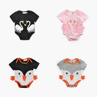 Wholesale Bird Wings - Girls Swan Bird Rompers Lace Wings Baby Jumpsuits Triangle Rompers Baby Girls Outfit Summer Short Sleeve 0-18M 100% Cotton