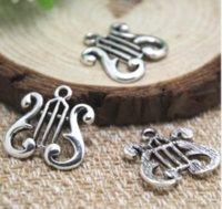 harfenanhänger großhandel-15pcs / lot-- Harp Charms Silber Ton große Harp Charms Anhänger, DIY liefert 21x21mm