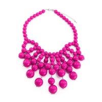 farbe wulst kettenstränge großhandel-Großhandel Trendy Big Beads Strang Erklärung Halsketten Für Frauen Choker Bib 4 Farbe Anhänger Halsketten Modeschmuck Geschenk