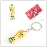 Wholesale european fan - European Champions Cup Keychain 2018 Russia World Cup Key Ring Gold Trophy LOGO FIFA Fans Souvenirs