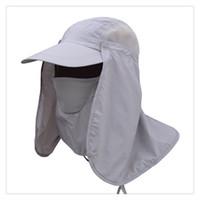 hızlı kurulama kapağı toptan satış-Erkekler ve Kadınlar Açık Güneş Koruma Balıkçılık Şapka ile Çıkarılabilir Yüz Boyun Kapak Flap, Yaz Bisiklet Hızlı Kurutma Kap Güneş Kremi