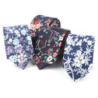 krawatten schlank 6cm großhandel-TAGER WILEN Herren Slim Krawatte Casual Cotton Floral Skinny Tie 6cm -Verschiedene Stile