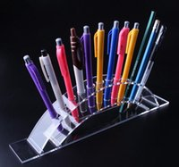 Wholesale cosmetic display cases - Hot sale Acrylic Pen Holder Cosmetic Brush Eyeshadow Pencil color Pen Lipstick Display Stand Rack Cosmet Support Holder Crystal pencil shelf