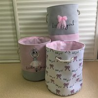 kirli çamaşır sepetleri toptan satış-35 * 40 cm Kirli Giysiler için Pembe Çamaşır Sepeti Pamuk Bale Kız Yay Baskı Oyuncaklar Organizatör Ev Depolama Organizasyon DDA369