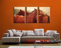 escribiendo arte de pared al por mayor-Red-Horse, 3 piezas de decoración para el hogar HD Impreso pintura de arte moderno sobre lienzo (sin enmarcar / enmarcado)