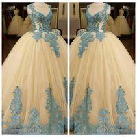 Wholesale online arabic - 2018 Sheer Lake Blue Lace Appliques Ivory Ball Gown Wedding Dresses Sleeveless Arabic Bridal Gowns Custom Online Vestidos De Mariage